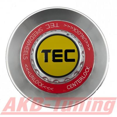 TEC ALU-Zentralverschluss-Deckel in Hyper-Silber / Kranz rot / Logo gelb-schwarz für Alufelge GT8