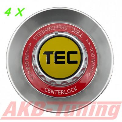 TEC ALU-Zentralverschluss-Deckel-Set in Hyper-Silber / Kranz rot / Logo gelb-schwarz für Alufelge GT8