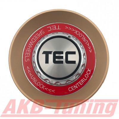 TEC ALU-Zentralverschluss-Deckel in Rosé-Gold / Kranz rot / Logo silber-schwarz für Alufelge GT8