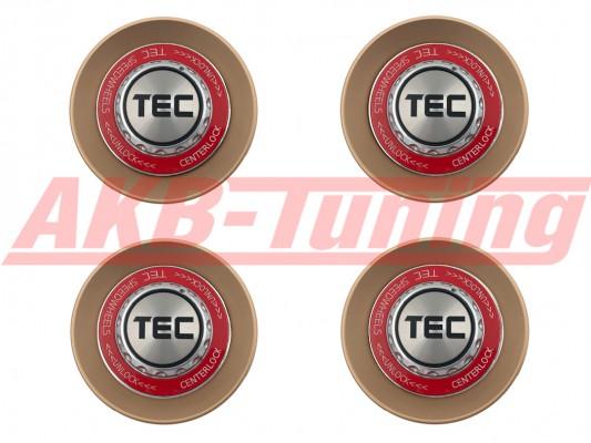 TEC ALU-Zentralverschluss-Deckel-Set in Rosé-Gold / Kranz rot / Logo silber-schwarz für Alufelge GT8
