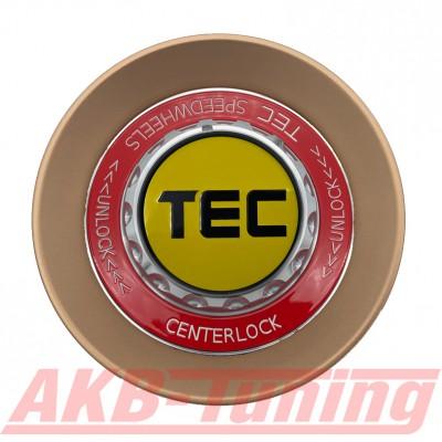 TEC ALU-Zentralverschluss-Deckel in Rosé-Gold / Kranz rot / Logo gelb-schwarz für Alufelge GT8