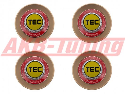 TEC ALU-Zentralverschluss-Deckel-Set in Rosé-Gold / Kranz rot / Logo gelb-schwarz für Alufelge GT8
