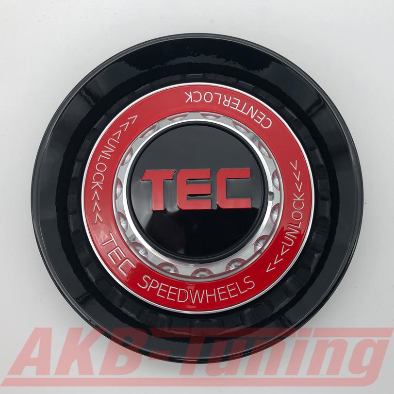 TEC ALU-Zentralverschluss-Deckel in Schwarz-Glanz / Kranz rot / Logo rot für Alufelge GT8