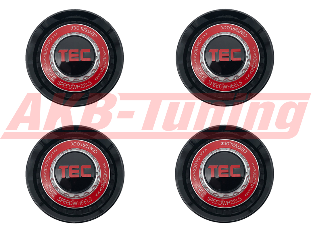 TEC ALU-Zentralverschluss-Deckel-Set in Schwarz-Glanz / Kranz rot / Logo rot für Alufelge GT8