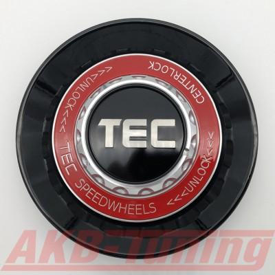 TEC ALU-Zentralverschluss-Deckel in Schwarz-Glanz / Kranz rot / Logo schwarz-silber für Alufelge GT8