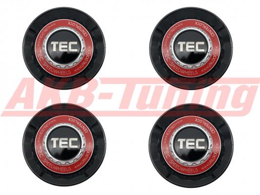 TEC ALU-Zentralverschluss-Deckel-Set in Schwarz-Glanz / Kranz rot / Logo schwarz-silber für Alufelge GT8