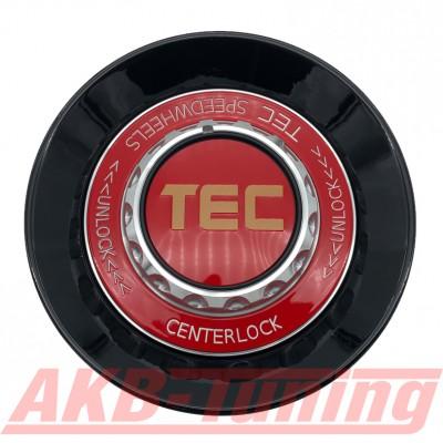 TEC ALU-Zentralverschluss-Deckel in Schwarz-Glanz / Kranz rot / Logo rot-gold für Alufelge GT8