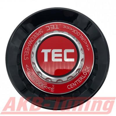 TEC ALU-Zentralverschluss-Deckel in Schwarz-Glanz / Kranz rot / Logo rot-silber für Alufelge GT8