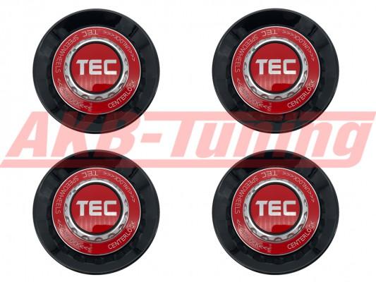 TEC ALU-Zentralverschluss-Deckel-Set in Schwarz-Glanz / Kranz rot / Logo rot-silber für Alufelge GT8