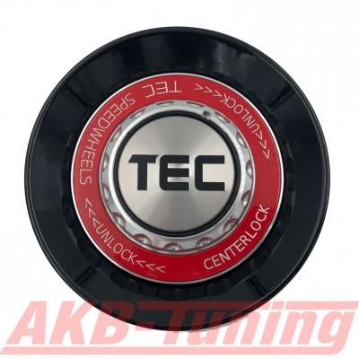 TEC ALU-Zentralverschluss-Deckel in Schwarz-Glanz / Kranz rot / Logo silber-schwarz für Alufelge GT8