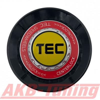TEC ALU-Zentralverschluss-Deckel in Schwarz-Glanz / Kranz rot / Logo gelb-schwarz für Alufelge GT8