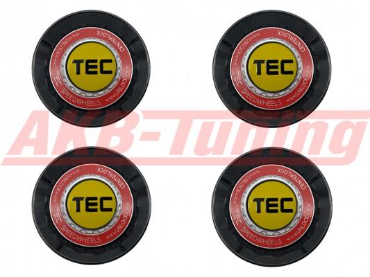 TEC ALU-Zentralverschluss-Deckel-Set in Schwarz-Glanz / Kranz rot / Logo gelb-schwarz für Alufelge GT8
