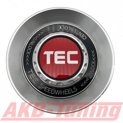 TEC ALU-Zentralverschluss-Deckel in Hyper-Silber / Kranz schwarz / Logo rot-silber für Alufelge GT8