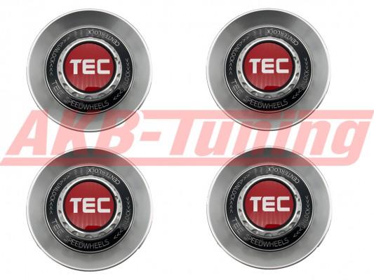 TEC ALU-Zentralverschluss-Deckel-Set in Hyper-Silber / Kranz schwarz / Logo rot-silber für Alufelge GT8