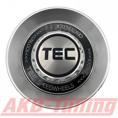 TEC ALU-Zentralverschluss-Deckel in Hyper-Silber / Kranz schwarz / Logo silber-schwarz für Alufelge GT8