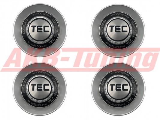 TEC ALU-Zentralverschluss-Deckel-Set in Hyper-Silber / Kranz schwarz / Logo silber-schwarz für Alufelge GT8
