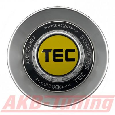 TEC ALU-Zentralverschluss-Deckel in Hyper-Silber / Kranz schwarz / Logo gelbschwarz für Alufelge GT8