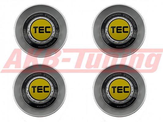 TEC ALU-Zentralverschluss-Deckel-Set in Hyper-Silber / Kranz schwarz / Logo gelb-schwarz für Alufelge GT8