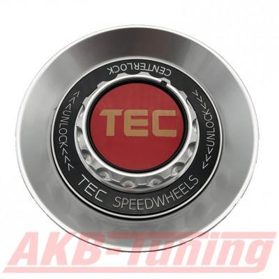 TEC ALU-Zentralverschluss-Deckel in Hyper-Silber / Kranz schwarz / Logo rot-gold für Alufelge GT8