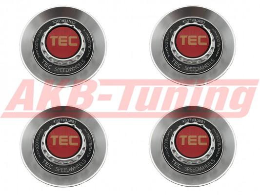 TEC ALU-Zentralverschluss-Deckel-Set in Hyper-Silber / Kranz schwarz / Logo rot-gold für Alufelge GT8
