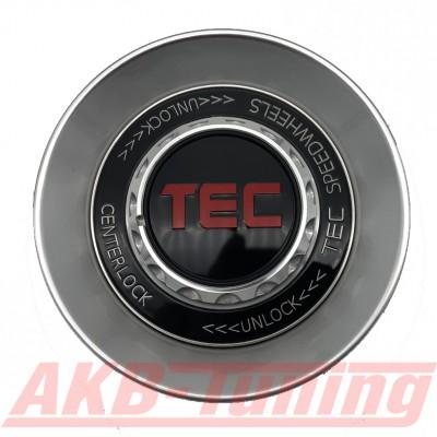 TEC ALU-Zentralverschluss-Deckel in Hyper-Silber / Kranz schwarz / Logo rot für Alufelge GT8