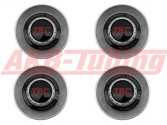 TEC ALU-Zentralverschluss-Deckel-Set in Hyper-Silber / Kranz schwarz / Logo rot für Alufelge GT8
