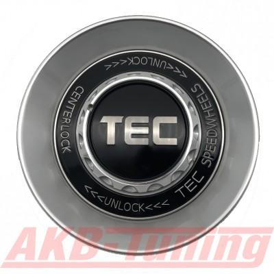 TEC ALU-Zentralverschluss-Deckel in Hyper-Silber / Kranz schwarz / Logo silber für Alufelge GT8