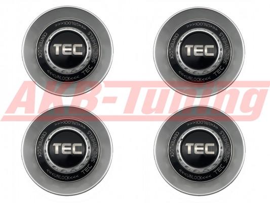 TEC ALU-Zentralverschluss-Deckel-Set in Hyper-Silber / Kranz schwarz / Logo silber für Alufelge GT8