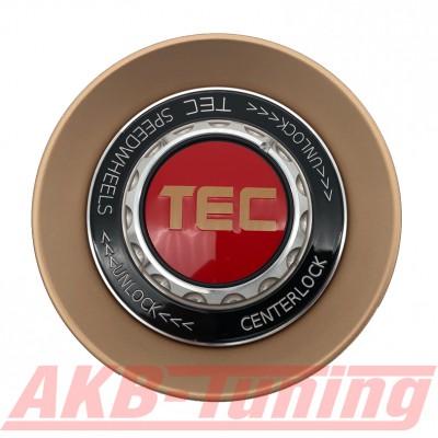 TEC ALU-Zentralverschluss-Deckel in Rosé-Gold / Kranz schwarz / Logo rot-gold für Alufelge GT8