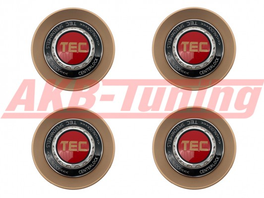 TEC ALU-Zentralverschluss-Deckel-Set in Rosé-Gold / Kranz schwarz / Logo rot-gold für Alufelge GT8