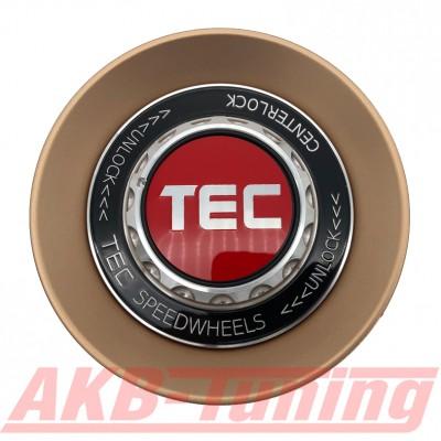 TEC ALU-Zentralverschluss-Deckel in Rosé-Gold / Kranz schwarz / Logo rot-silber für Alufelge GT8
