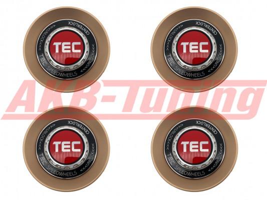 TEC ALU-Zentralverschluss-Deckel-Set in Rosé-Gold / Kranz schwarz / Logo rot-silber für Alufelge GT8