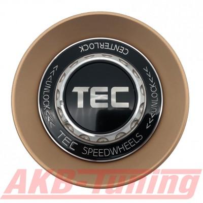 TEC ALU-Zentralverschluss-Deckel in Rosé-Gold / Kranz schwarz / Logo schwarz-silber für Alufelge GT8