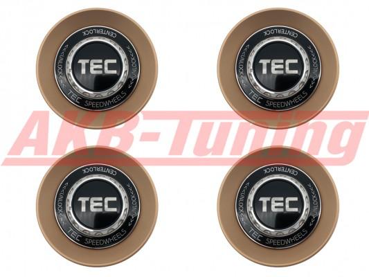 TEC ALU-Zentralverschluss-Deckel-Set in Rosé-Gold / Kranz schwarz / Logo schwarz-silber für Alufelge GT8