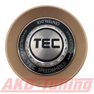 TEC ALU-Zentralverschluss-Deckel in Rosé-Gold / Kranz schwarz / Logo silber-schwarz für Alufelge GT8