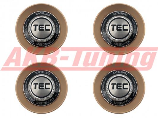 TEC ALU-Zentralverschluss-Deckel-Set in Rosé-Gold / Kranz schwarz / Logo silber-schwarz für Alufelge GT8