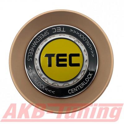 TEC ALU-Zentralverschluss-Deckel in Rosé-Gold / Kranz schwarz / Logo gelb-schwarz für Alufelge GT8