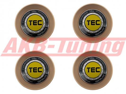 TEC ALU-Zentralverschluss-Deckel-Set in Rosé-Gold / Kranz schwarz / Logo gelb-schwarz für Alufelge GT8