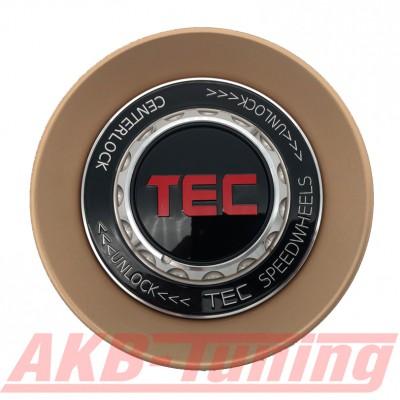 TEC ALU-Zentralverschluss-Deckel in Rosé-Gold / Kranz schwarz / Logo schwarz-rot für Alufelge GT8