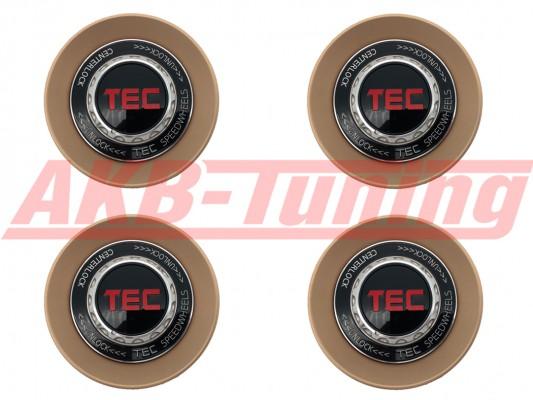 TEC ALU-Zentralverschluss-Deckel-Set in Rosé-Gold / Kranz schwarz / Logo schwarz-rot für Alufelge GT8