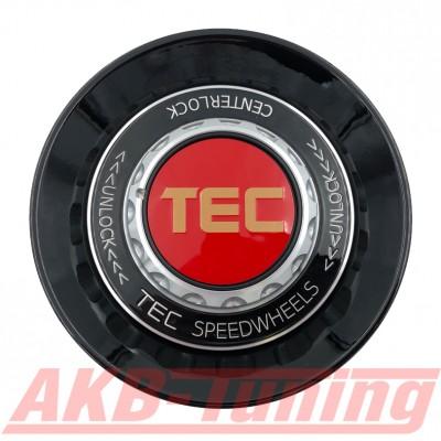 TEC ALU-Zentralverschluss-Deckel in Schwarz-Glanz / Kranz schwarz / Logo rot-gold für Alufelge GT8