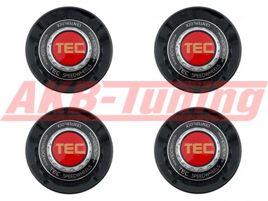TEC ALU-Zentralverschluss-Deckel-Set in Schwarz-Glanz / Kranz schwarz / Logo rot-gold für Alufelge GT8