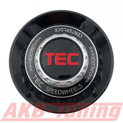 TEC ALU-Zentralverschluss-Deckel in Schwarz-Glanz / Kranz schwarz / Logo schwarz-rot für Alufelge GT8