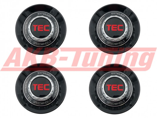 TEC ALU-Zentralverschluss-Deckel-Set in Schwarz-Glanz / Kranz schwarz / Logo schwarz-rot für Alufelge GT8