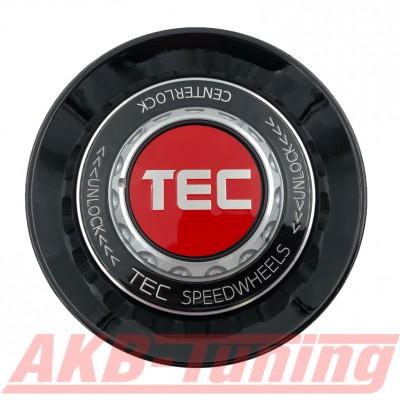 TEC ALU-Zentralverschluss-Deckel in Schwarz-Glanz / Kranz schwarz / Logo rot-silber für Alufelge GT8
