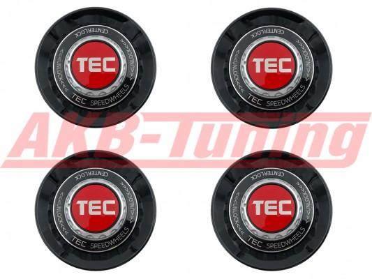 TEC ALU-Zentralverschluss-Deckel-Set in Schwarz-Glanz / Kranz schwarz / Logo rot-silber für Alufelge GT8
