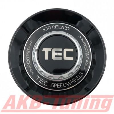 TEC ALU-Zentralverschluss-Deckel in Schwarz-Glanz / Kranz schwarz / Logo schwarz-silber für Alufelge GT8