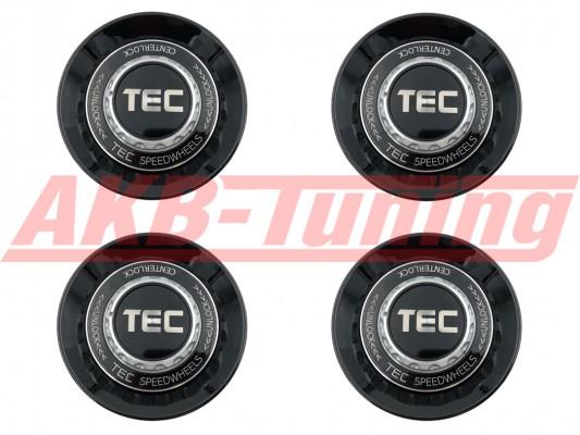 TEC ALU-Zentralverschluss-Deckel-Set in Schwarz-Glanz / Kranz schwarz / Logo schwarz-silber für Alufelge GT8