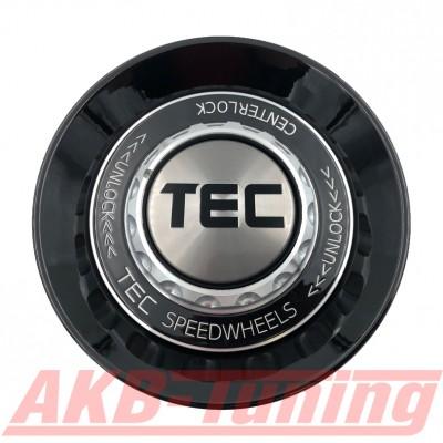 TEC ALU-Zentralverschluss-Deckel in Schwarz-Glanz / Kranz schwarz / Logo silber-schwarz für Alufelge GT8