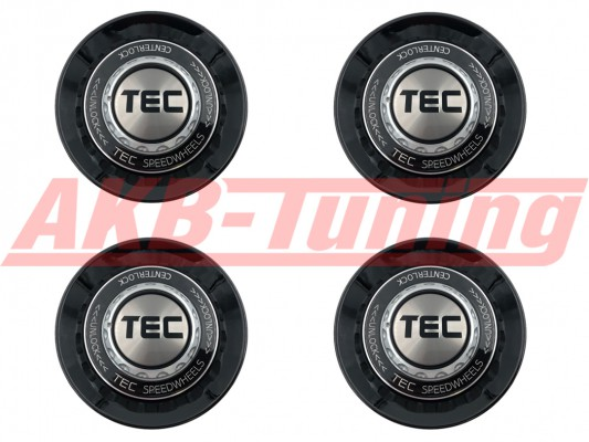 TEC ALU-Zentralverschluss-Deckel-Set in Schwarz-Glanz / Kranz schwarz / Logo silber-schwarz für Alufelge GT8